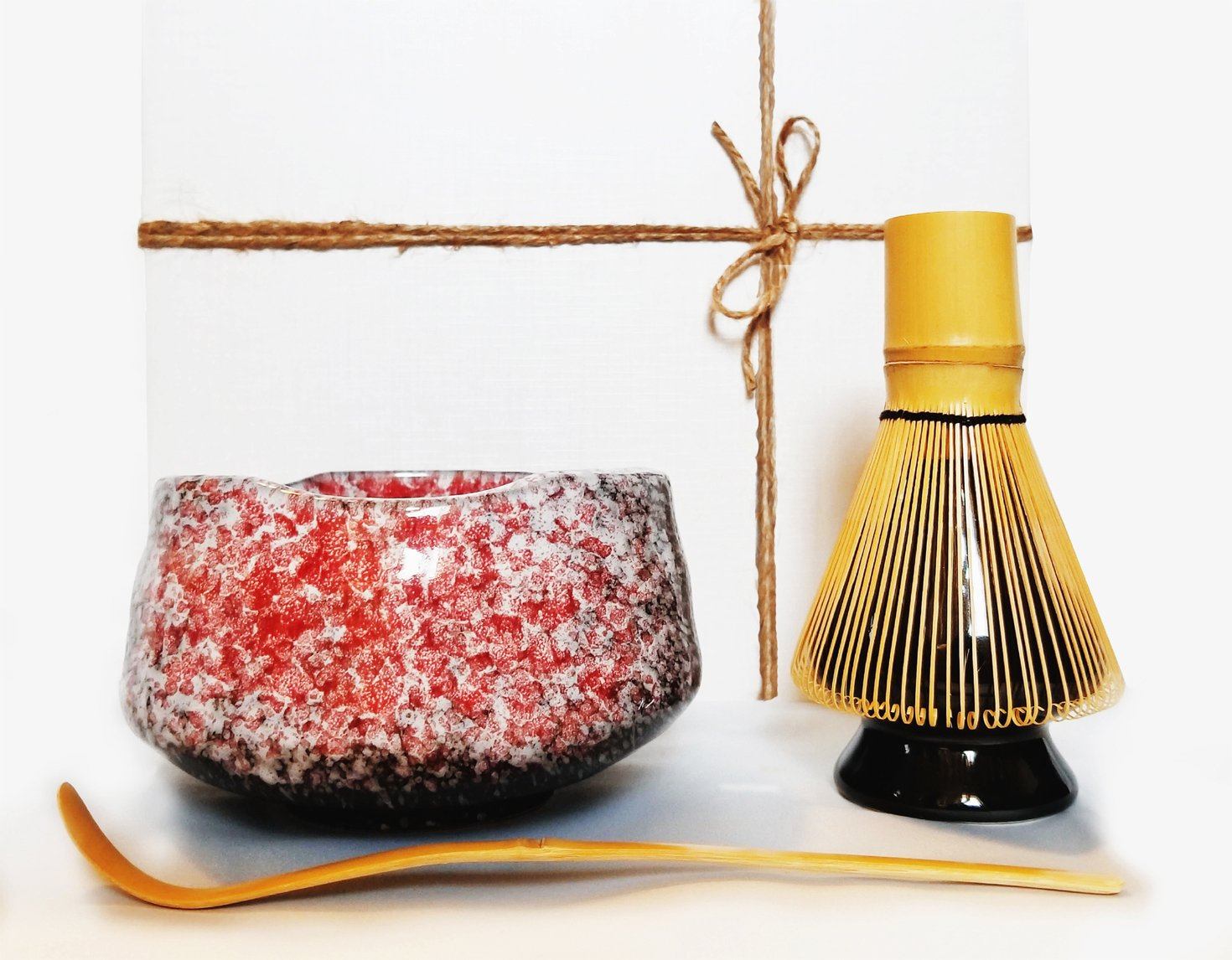 HARU MATCHA - Complete Yozakura Matcha Tea Ceremony Gift Set - Matcha Bowl (Chawan), Bamboo Scoop (Chashaku), Bamboo Whisk (100 tate), and Whisk Holder by Haru Matcha