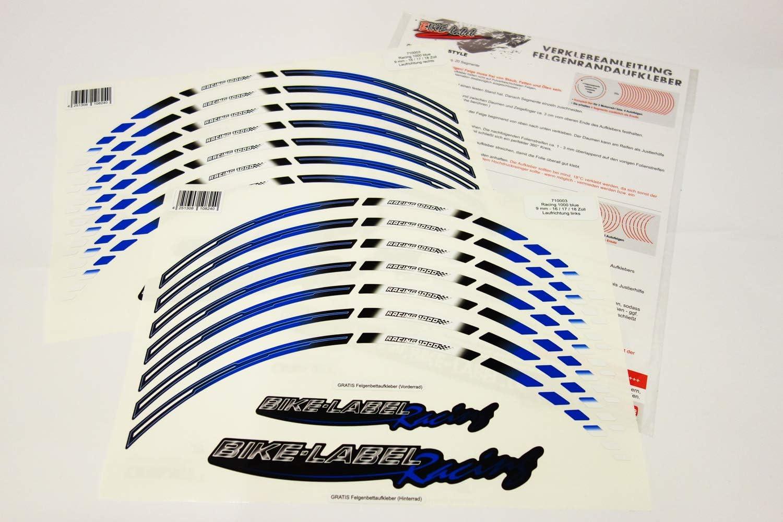 Bike Label 710003 Felgenrand Aufkleber Racing 1000 Blau Auto
