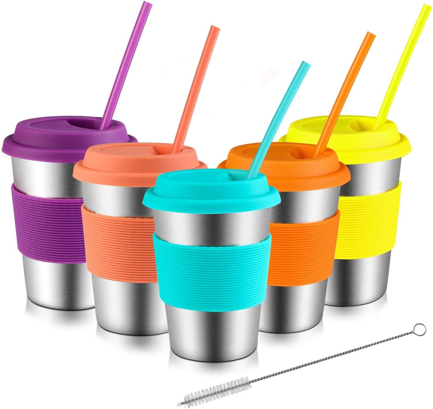 Kids Cups with Lids and Straws, Kereda Stainless Steel Toddler Cups 12oz with Silicone Sleeves Bpa Free Metal Drinking Tumblers for Children (Pack of 5)