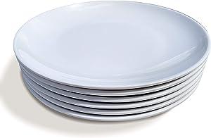 Littlebird4 11-inch Melamine Dinner Plates Bright White for Everyday Use, Set of 6