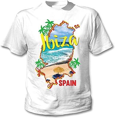 teesquare1st Ibiza Spain Camiseta Blanca para Hombre de Algodon: Amazon.es: Ropa y accesorios