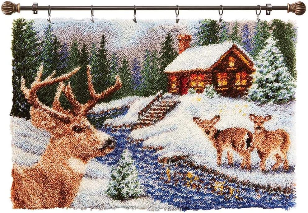 Herrschners/® Winter Deer Stream Kit /& Hanger Set of 2 Latch Hook Kit