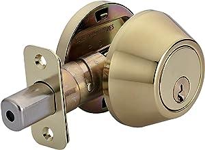 AmazonBasics Deadbolt - Single Cylinder - Polished Brass