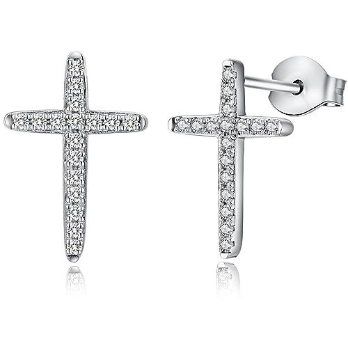 25af378a8 cross earring - Classic Fashion Cross Stud Earrings - 925 Sterling Silver  Hypoallergenic Little Cross Stud Earrings - Mini Cute ...