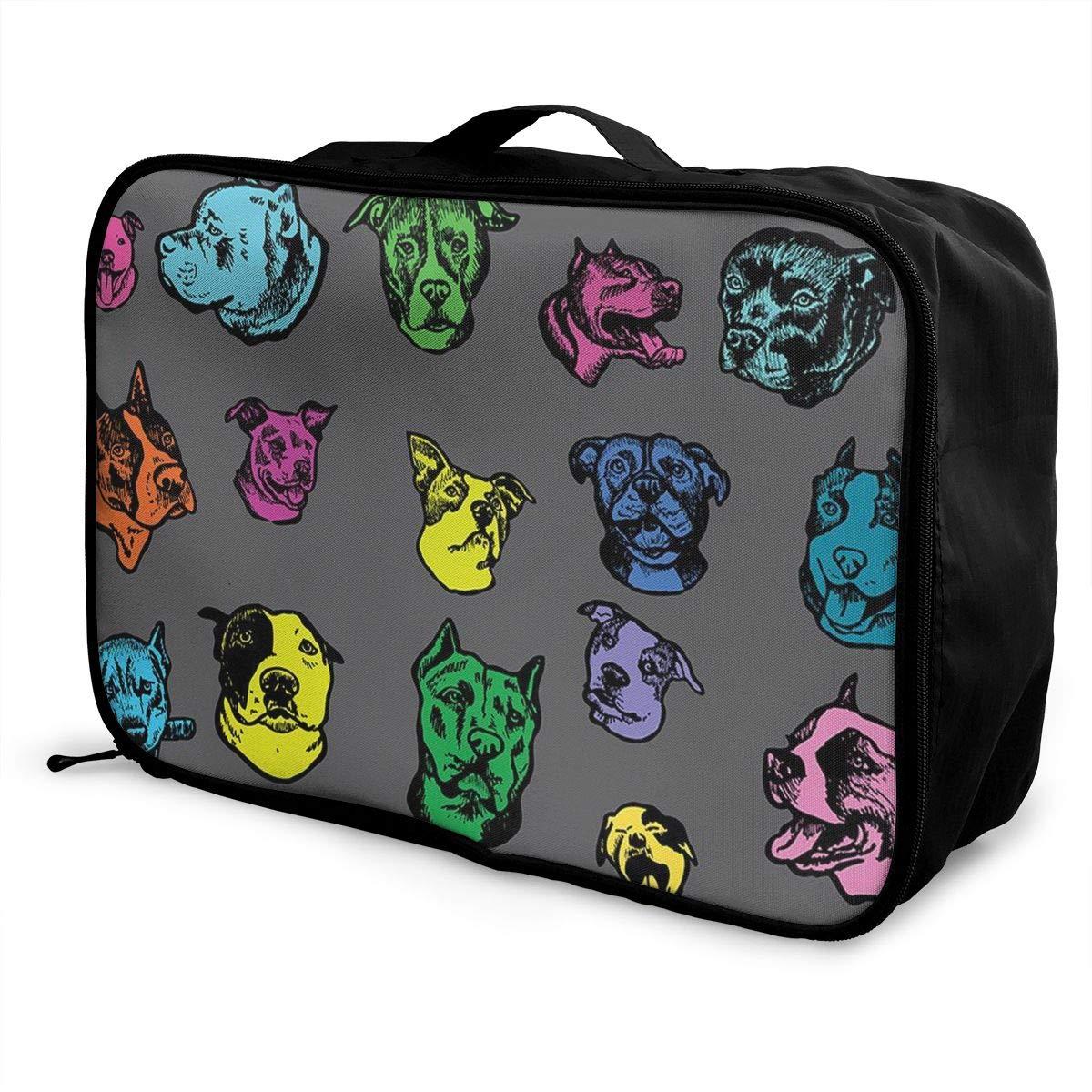 Travel Fashion Lightweight Large Capacity Duffel Portable Waterproof Foldable Storage Carry Luggage Tote Bag Pitbull Dog Art