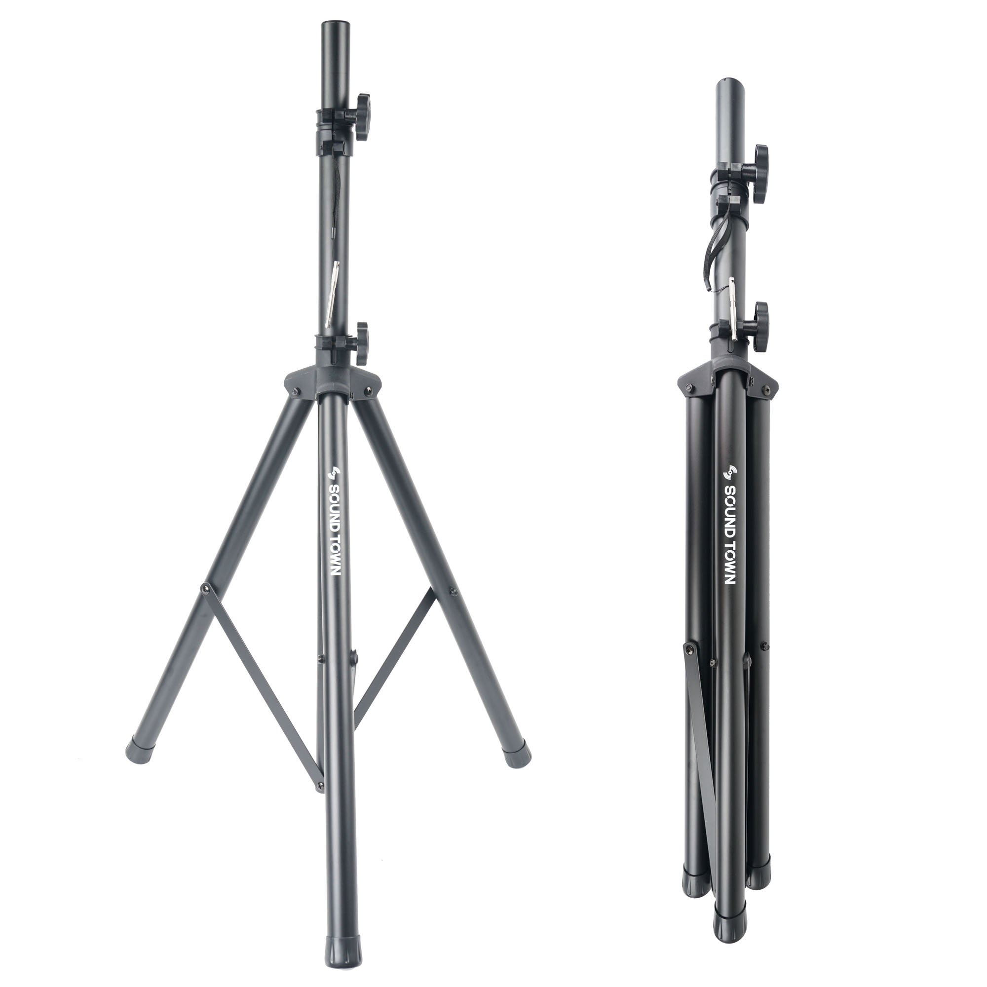 Sound Town Universal Tripod Speaker Stand with Adjustable Height, 35mm Compatible Insert, Locking Knob and Shaft Pin (STSD-71B), One stand