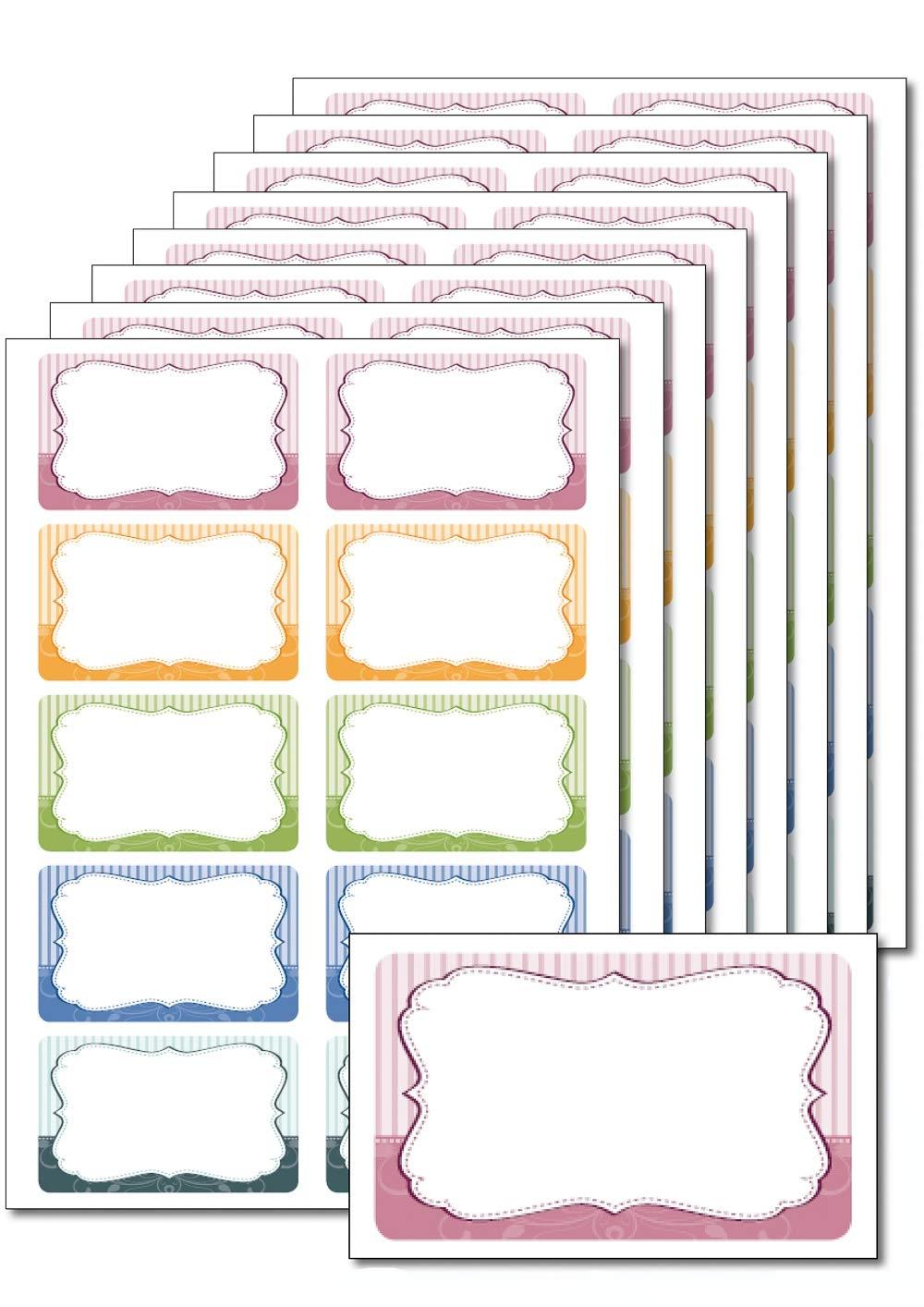 f/ür Einmachgl/äser 80 Etiketten Retro gestreift zum Bedrucken leicht abl/ösbar DIN A5 Geb/äckt/üten selbstklebend Give-Aways Beschriften