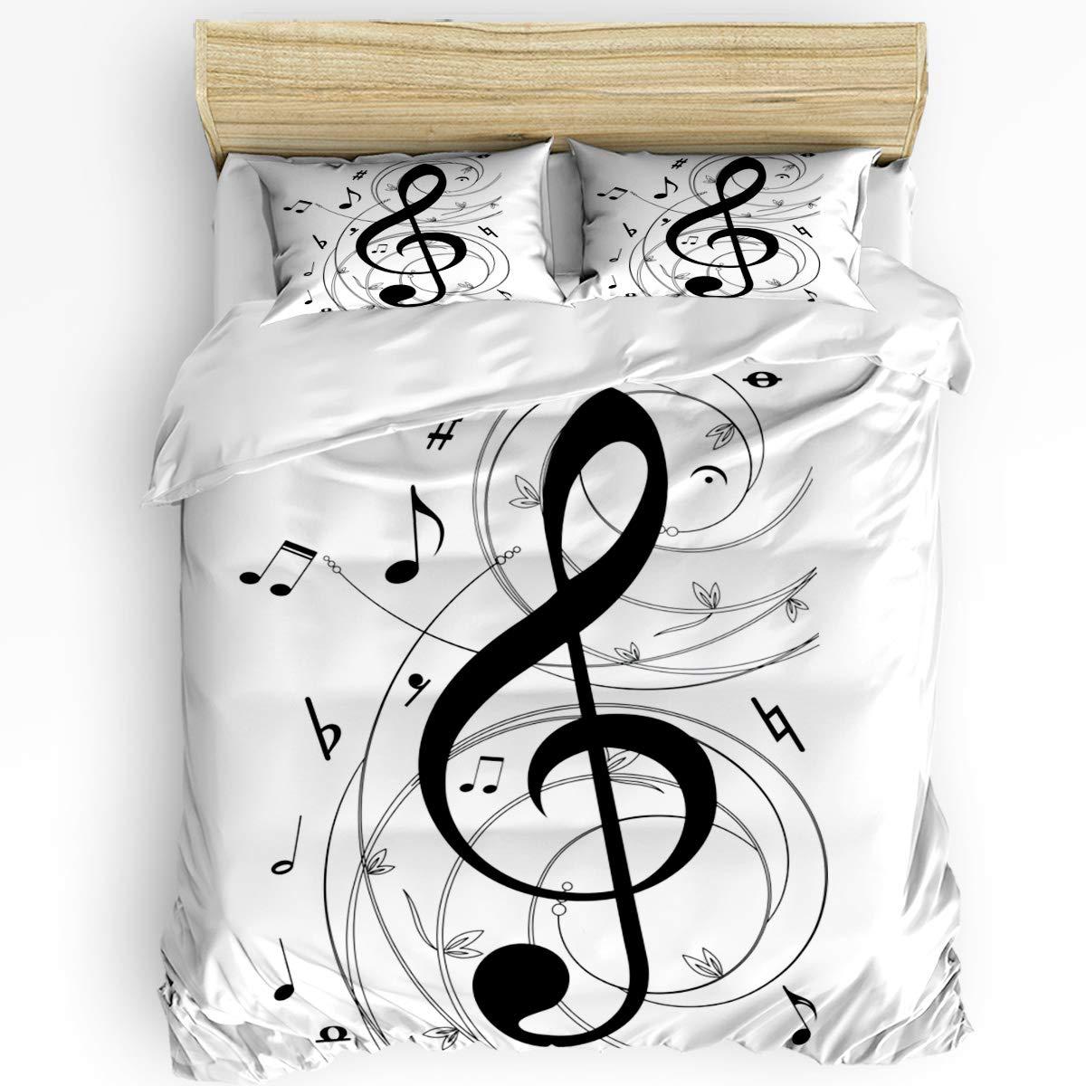 EZON-CH かわいい布団カバー3点セット 男の子 女の子 マウンテンレイクの美しい風景 ソフト寝具セット レディース メンズ ベッドルームコレクション 枕カバー2枚付き Twin Size B07RPRW2P8 Musicezn6107 Twin Size