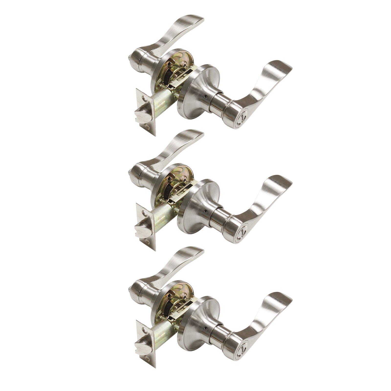 3 Pack Probrico Door Lever Privacy Door Lock Doorknobs Handle Hardware Keyless Lockset for Storage Room Bedroom Bathroom without Key in Satin Nickel-Right/Left Handed Reversible