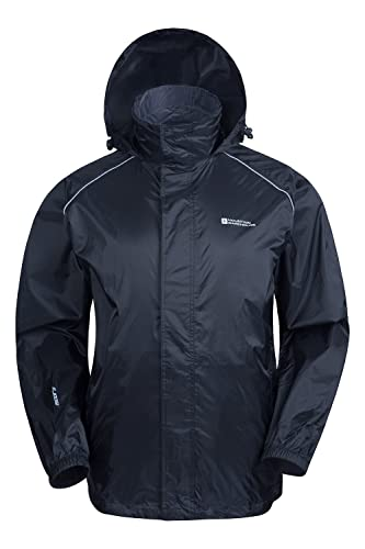 Mountain Warehouse Pakka Mens Waterproof Packable Jacket - Foldaway Hood Summer Jacket, High Vis Mens Coat, Lightweight Rain Jacket - For Wet Weather & Travelling