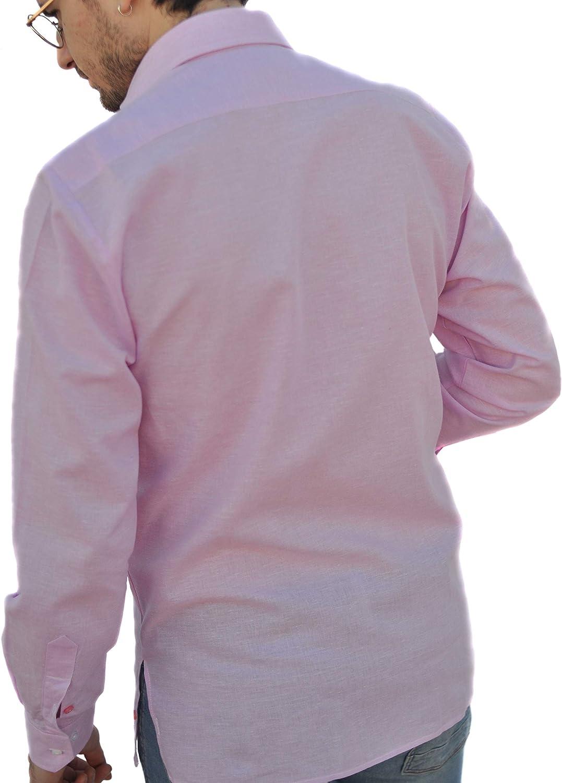 Camisa Guayabera Caballero Lino Rosa (XL): Amazon.es: Ropa y accesorios