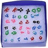 Clavos de plastico - SODIAL(R)18 pares de clavos de pendiente de joyas de moda de estilo mezclado de plastico plateado para mujeres(multicolor)