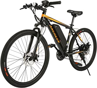 ANCHEER Electric Bike Electric Mountain Bike 350W Ebike 26/27.5'' Electric Bicycle, 20MPH Adults Ebike with Removable 7.8/10.4Ah Battery, Professional 21/24 Speed Gears