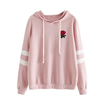 DIDK Embroidered Rose Patch Stripe Sleeve Hoodie Sweatshirt at Women's Clothing store