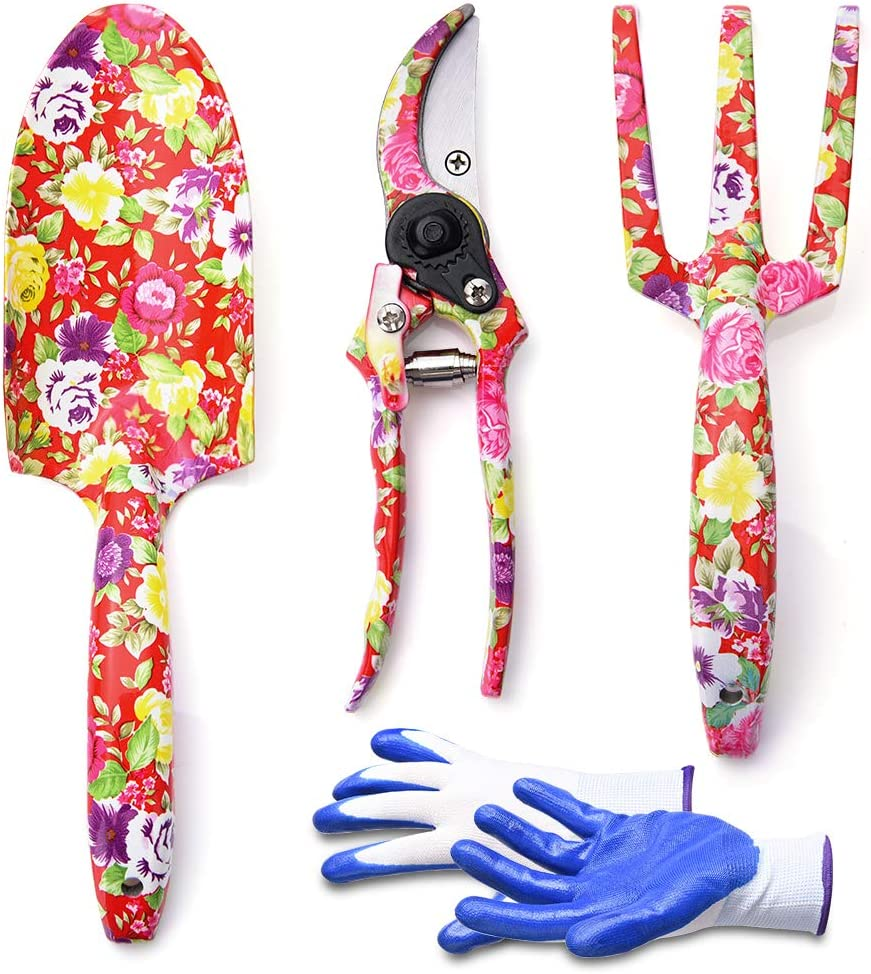 WOLFWILL 4 Piece Garden Tools Set - Flower Print Gardening Tools with Trowel, Cultivator, Pruning Shear, Gloves - Heavy Duty Gardening Kit Gift