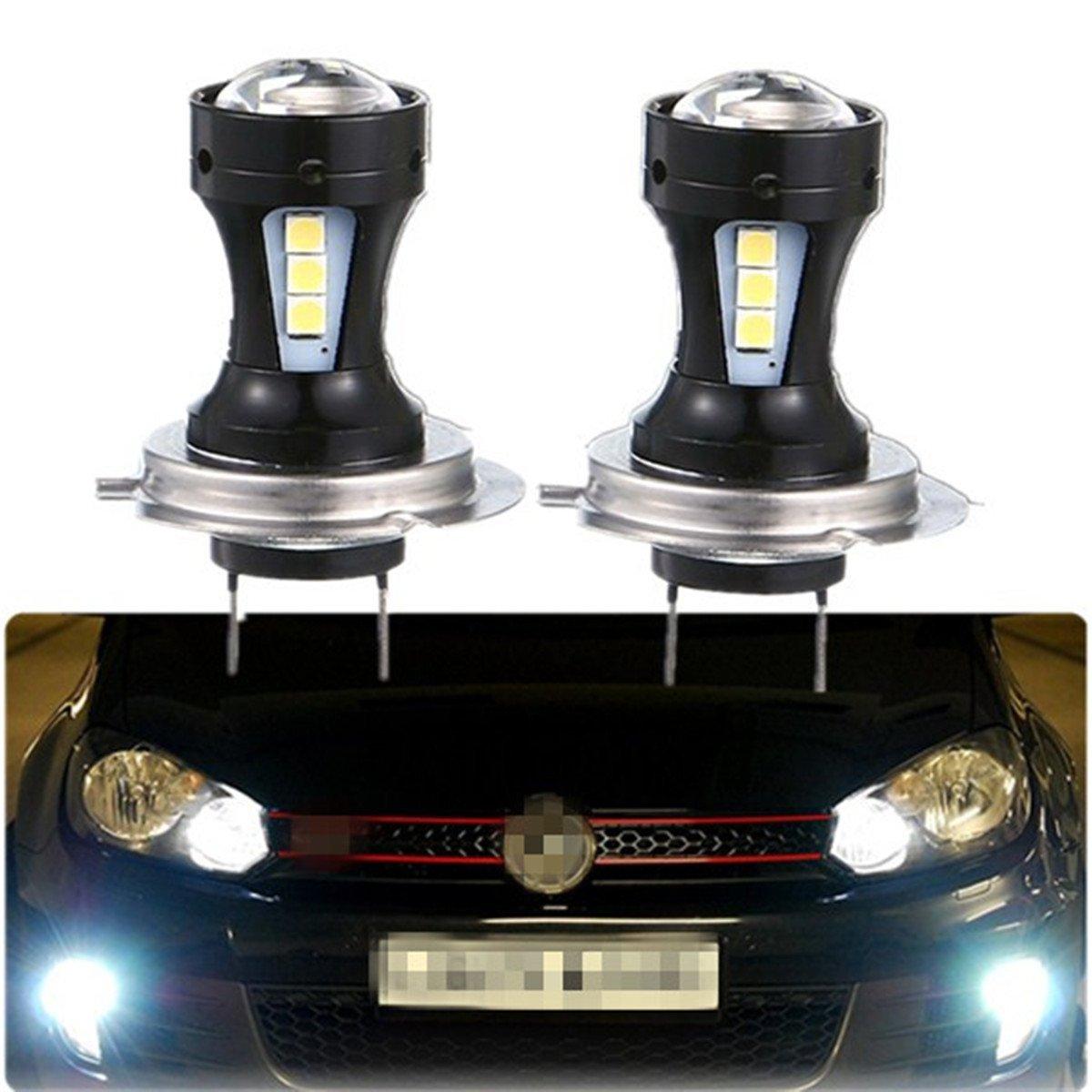 FEZZ 1000LM Auto LED Ampoules pour Feux Anti-brouillard Feu de Jour avec Porjecteur, H7 9V-30V DC, 18W Blanc, Paquet de 2