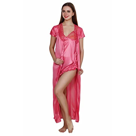 0c1dd88cd3 Image Unavailable. Image not available for. Colour  Queen Pretty Women s  Satin Nighty with Robe (Pink)