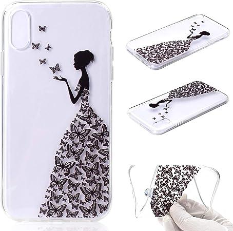 Funluna Cover iPhone XR Farfalla, Ultra Sottile Silicone Gel Morbido Cover Antiurto [Crystal TPU] con Disegni Farfalla e Ragazza Custodia Protettiva ...