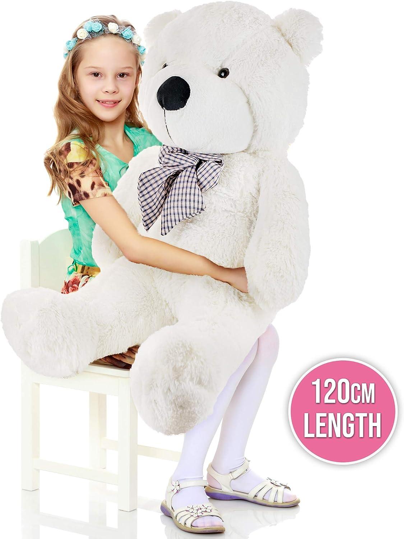 THE TWIDDLERS Oso Peluche 120cm - Gigante Blanco Teddy Bear con Sensación De Felpa Suave Regalo para Día De San Valentín –Grande Tierno Y Romántico para Pareja, Y Ocasiones Especiales