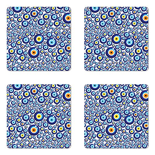 - Ambesonne Evil Eye Coaster Set of 4, Traditional Turkish Charm Luck Sign Pattern Vivid Bead Graphic, Square Hardboard Gloss Coasters for Drinks, Standard Size, Orange Yellow