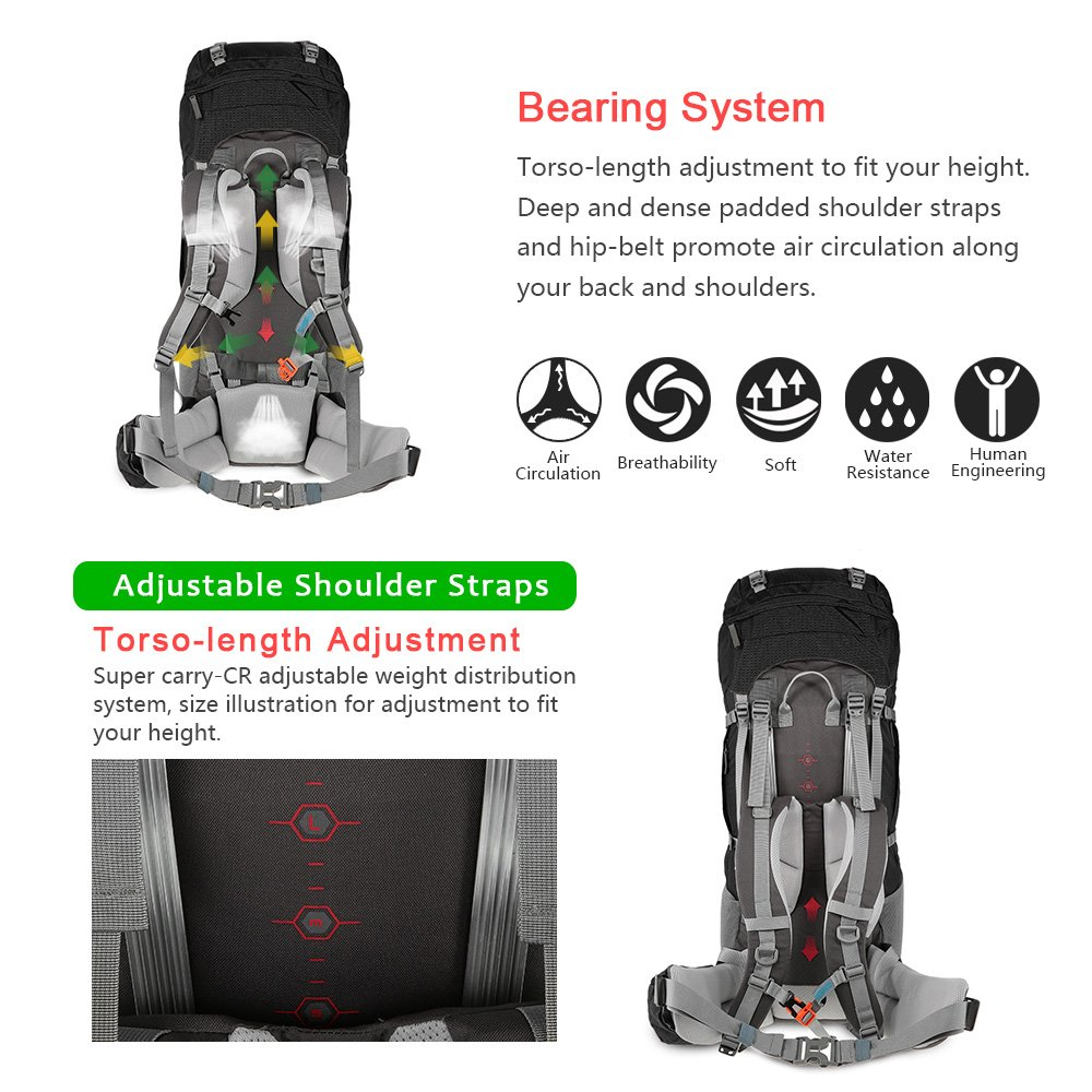 Amazon.com : TOMSHOO 75L Hiking Backpack Internal Frame Backpack ...