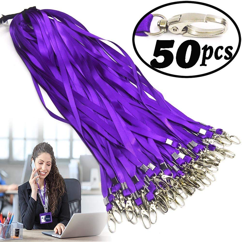 Purple Lanyard Bulk Clips Swivel Hooks Nylon Neck Flat Woven Purple Lanyards with Clip for Id Badges Key Chains, Lanyards 50 Pack 32-inch M-Aimee