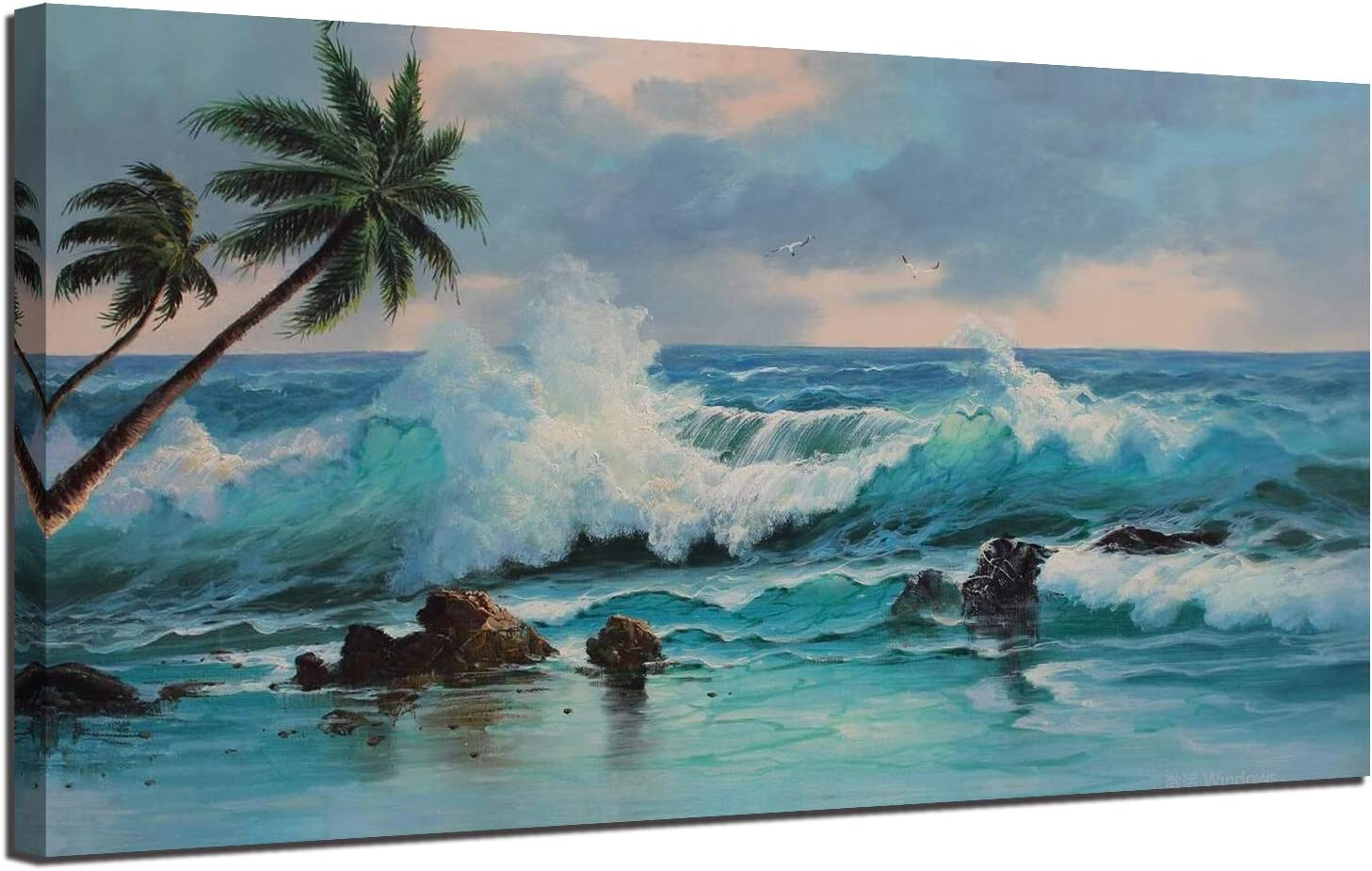 Canvas Wall Art Painting Blue Ocean Sea Wave Palm Tree Hawaii Seascape Picture, Modern Tropical Beach Panoramic Large 48