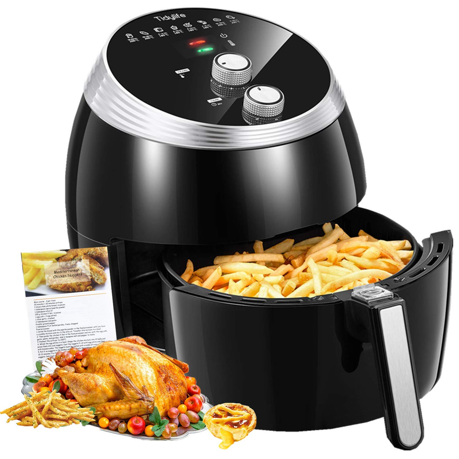 Air Fryer, Tidylife 6.3 QT Air Fryer XL with Smart Time & Temperature Control, 1700W with 7 Cooking Preset, 180-400℉Oilless Nonstick Basket Hot Air Fryer, Auto Shut Off with 50+Recipes(6.3QT)