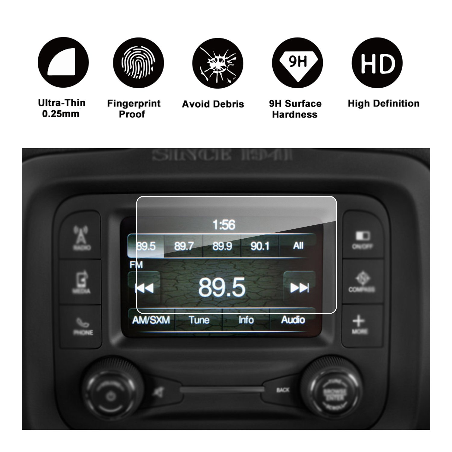 5-Inch 2015 2016 2017 Jeep Renegade Uconnect Navigation Screen Protector RUIYA HD Clear TEMPERED GLASS Car In-Dash Screen Protective Film