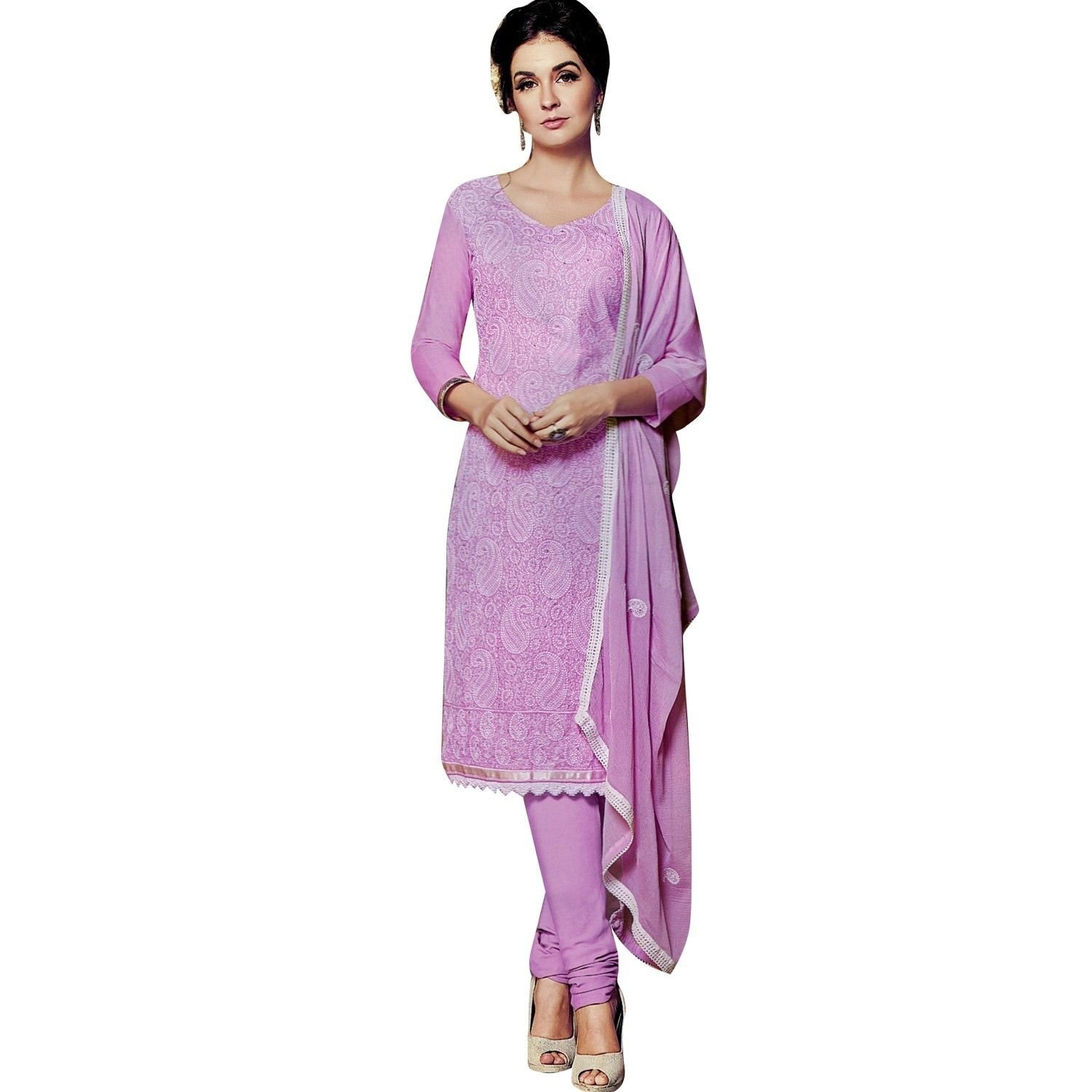 Ladyline Cotton Lakhnavi Embroidery Salwar Kameez Womens Indian Dress Ready to Wear Salwar Suit by Ladyline (Image #1)