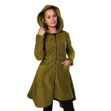 7267e6f92bc560 Kunst und Magie Damenmantel aus Fleece mit Kapuze Boho Gehrock: Amazon.de:  Bekleidung