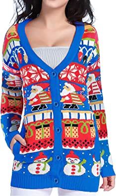 v28 Christmas Sweater Cardigan Ugly Women Girls Vintage Fun Knit Xmas Sweater