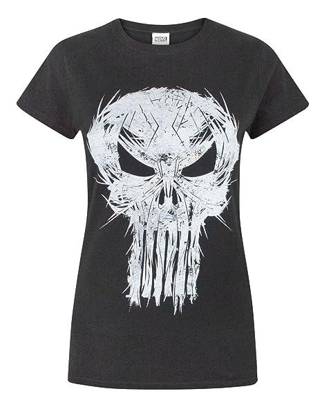 89a313e4 Amazon.com: Marvel The Punisher Logo Women's T-Shirt (XL): Clothing