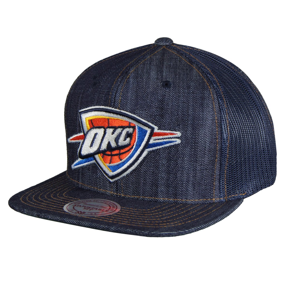b690138628c Oklahoma City Thunder Mitchell   Ness Dark Denim Front Trucker Mesh Back  Snapback Hat  Amazon.in  Clothing   Accessories
