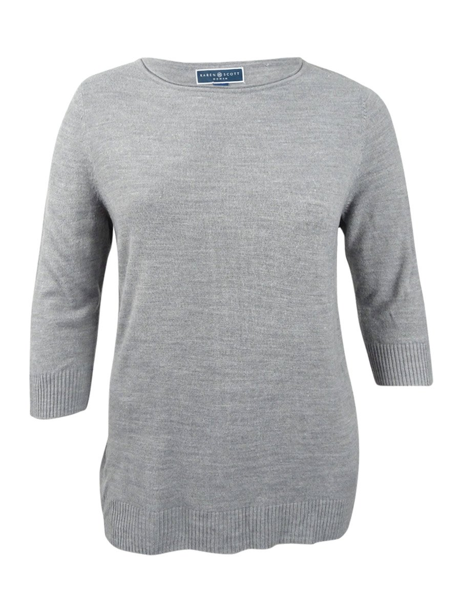Karen Scott Womens Plus Acrylic Knit Casual Top Gray 1X