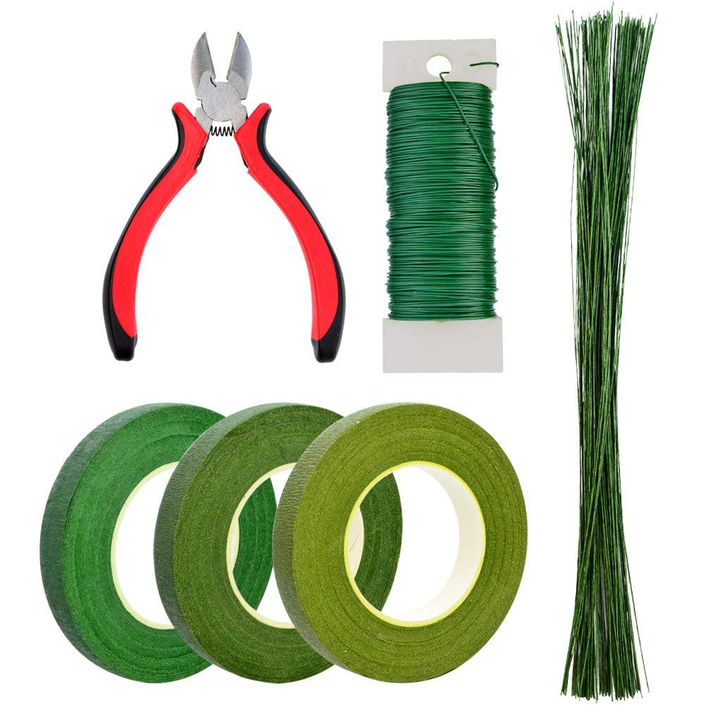 Bantoye 6 Pcs Floral Arrangement Tool Kit, 4.7'' Wire Cutter, 3 Rolls Floriculture Paper Tapes 26 Gauge Floral Wire & 16 Inch Floral Stem Wire for Bouquet Stem Wrap Florist