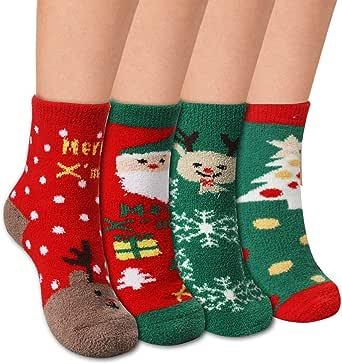 4 pares Calcetines navideños Calcetines navideños Calcetines ...
