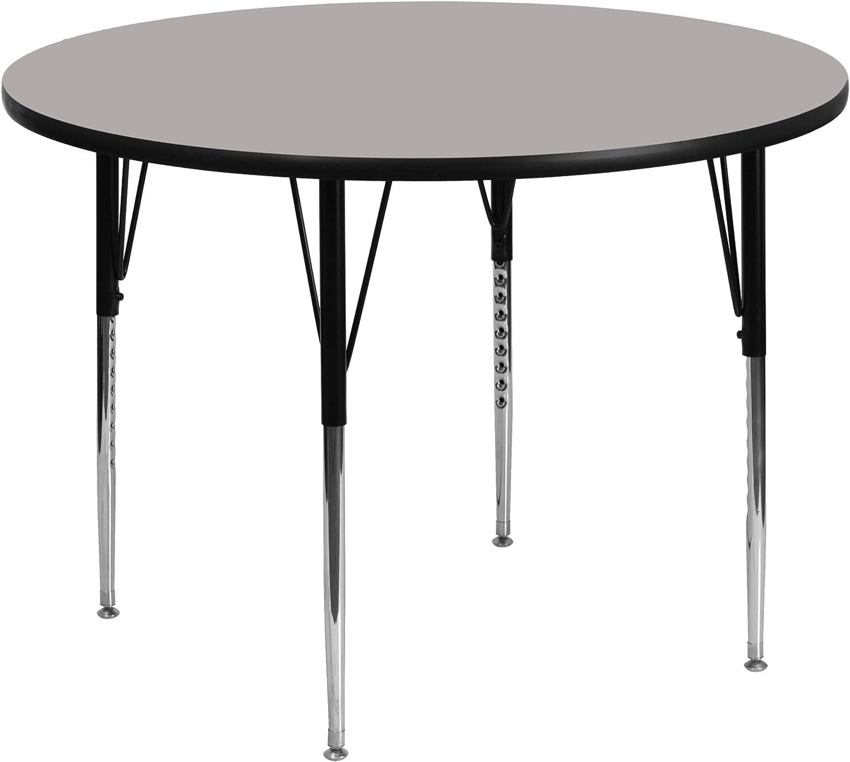 Flash Furniture 48'' Round Grey HP Laminate Activity Table - Standard Height Adjustable Legs