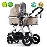 Toddler Stroller Folding Convertible Carriage Infant Anti-Shock High View Luxury Baby Stroller Newborn Pram Stroller Pushchair Stroller for Babies(Light Camel)