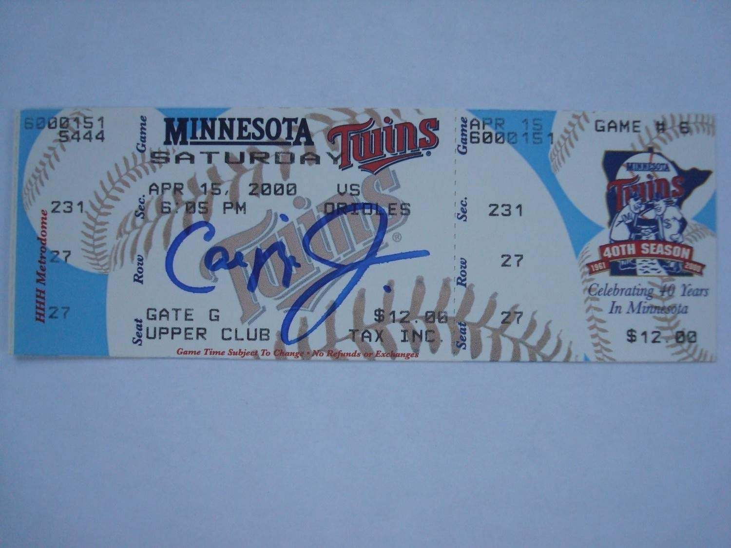 Cal Ripken Jr 3000Th Hit Autographed Signed Autograph Ticket Sports Memorabilia JSA Certificate of Authentic Memorabiliaity Included