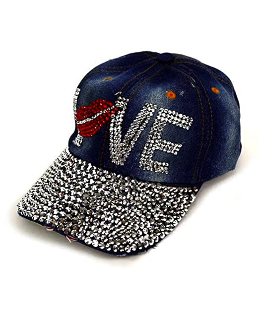 8f770ac849dbc1 Image Unavailable. Image not available for. Color: Bling Love with Red Lips  Embellished Adjustable Baseball Cap Hat~Dark Denim
