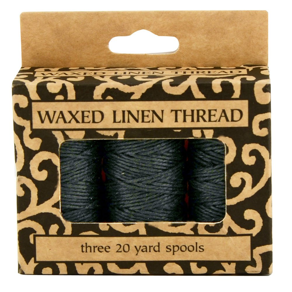 Lineco Waxed Genuine Linen Thread, 20 yards, Pack of 3 Spools: Black (BBHM209) 5221887