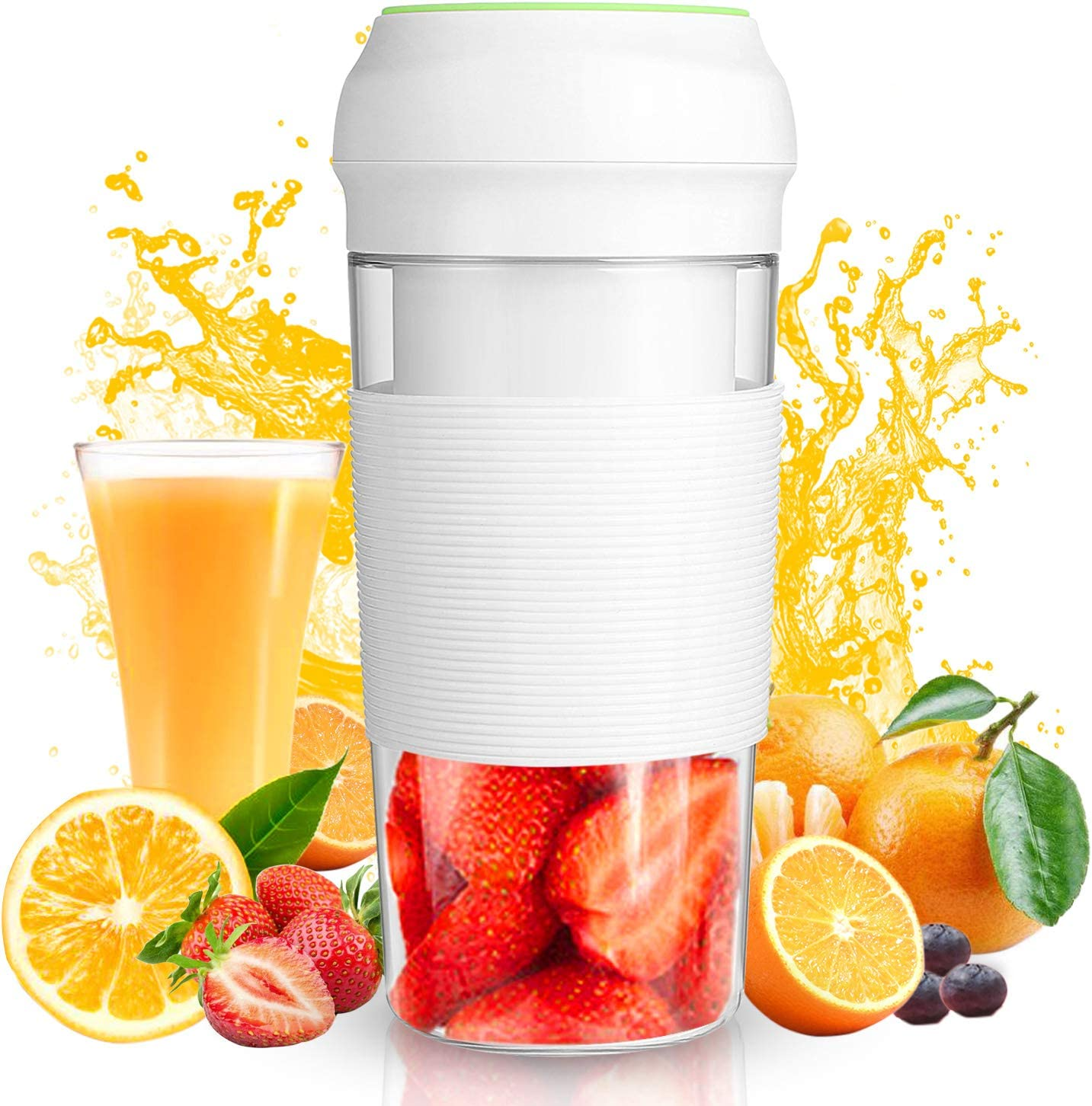 Portable Blender Juicer (12oz) Personal Blender Shakes and Smoothies Juicer Cup Smoothie Maker With 7.4V 3000mAh Rechargeable Battery Strong Power Ice Blender Mixer Baby Food Maker(BPA FREE)Home Office School Travel Sport Gym Outdoors