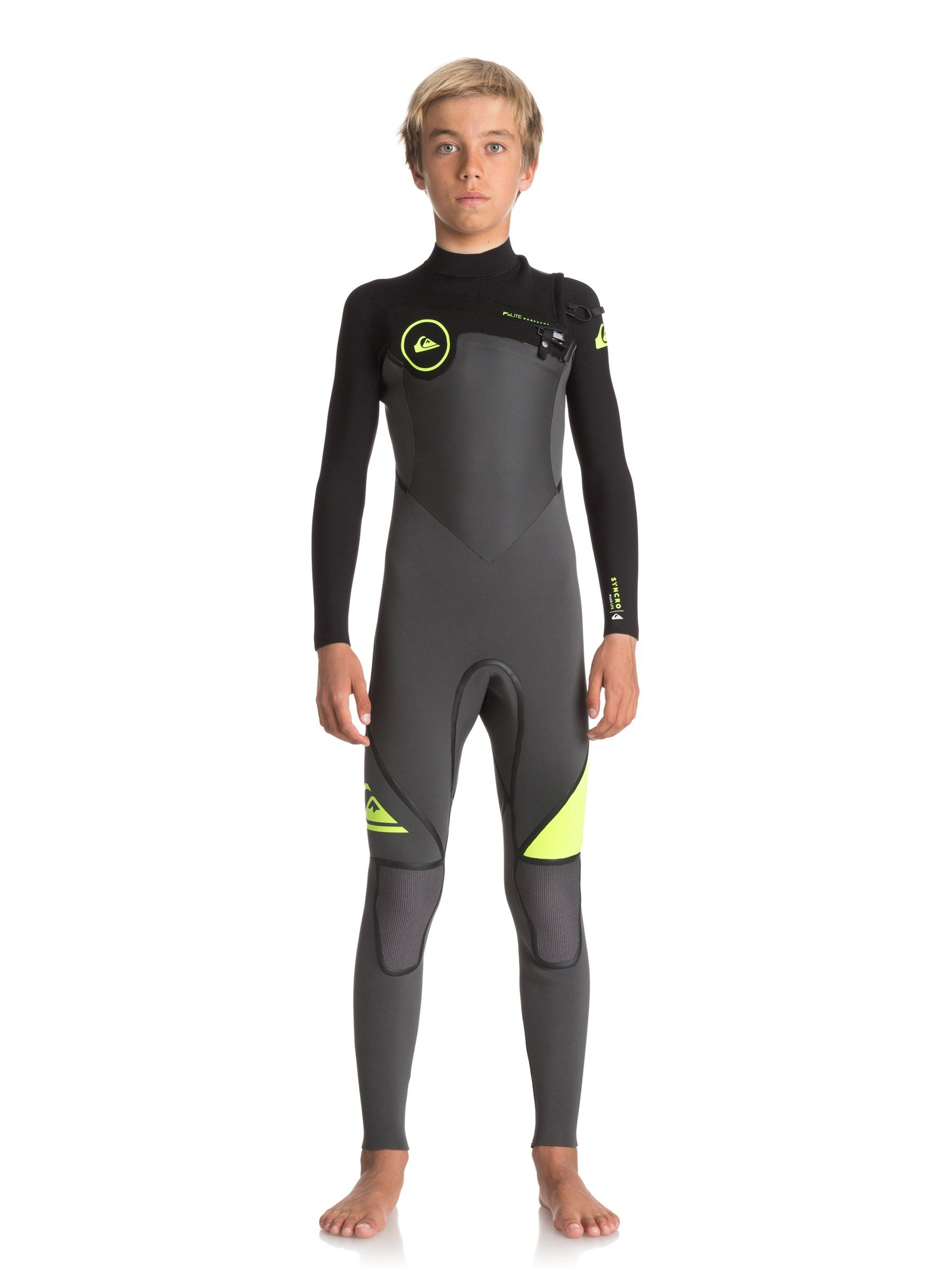 Quiksilver - Boys 4/3 Syncro+ Fullsuit, Size: 14, Color: Jet Black/ Black/ Safety Yello by Quiksilver