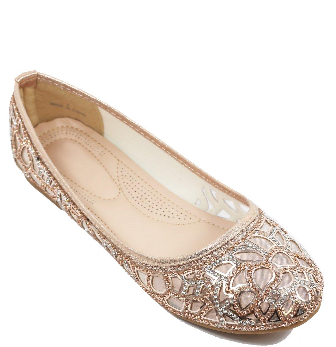 Walstar Women Rhinestone Flats Glitter Mesh Flats Slip on Shoes B071YT4QQZ 8.5 B(M) US Mesh-rose Gold