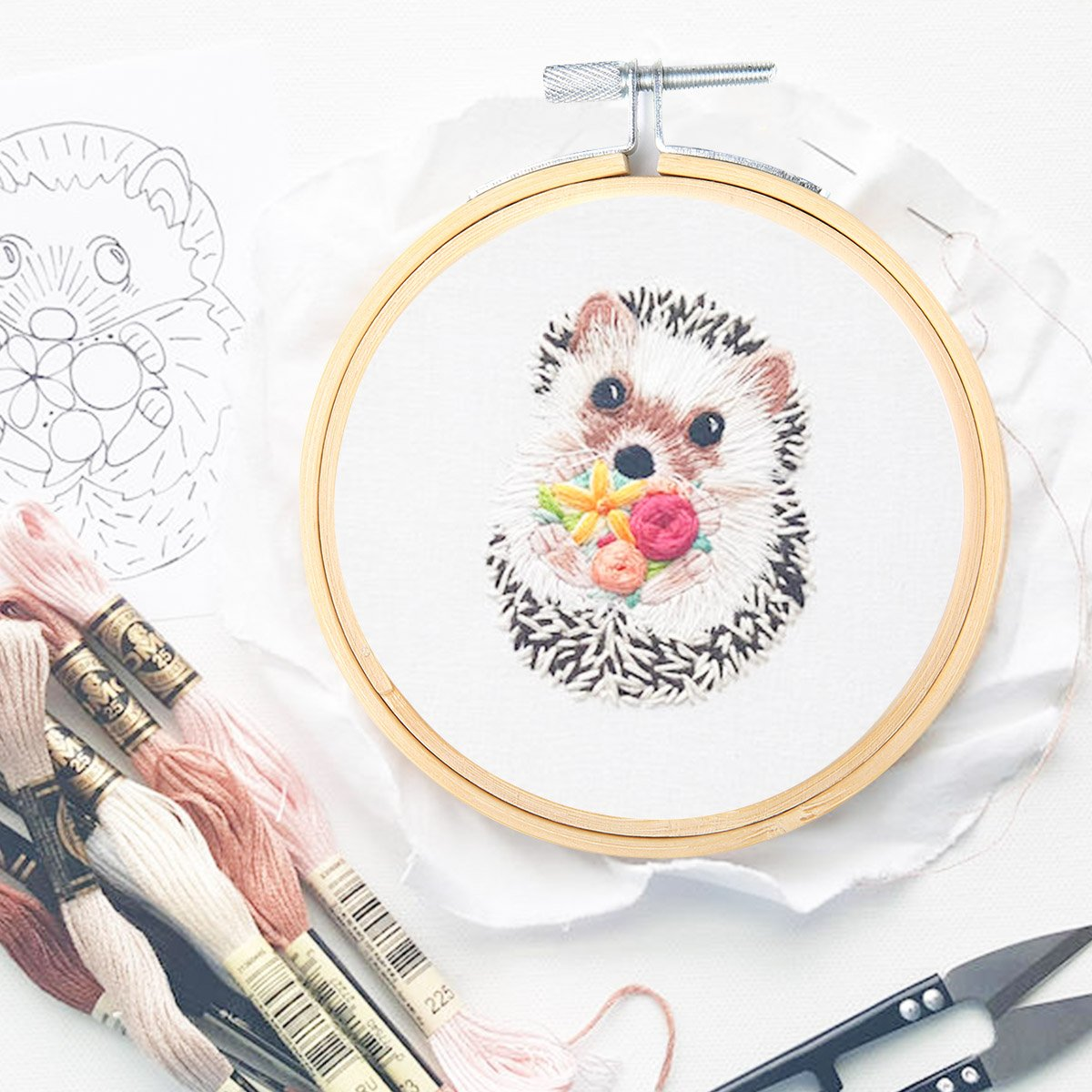 Crafts /& Sewing(5pc//5size with Tools) KINGSO Cross Stitch Hoop Embroidery Hoop Pieces Embroidery Circle Set Hoops Ring Wooden Round Adjustable Bamboo Hoops Bulk Crosses for Arts