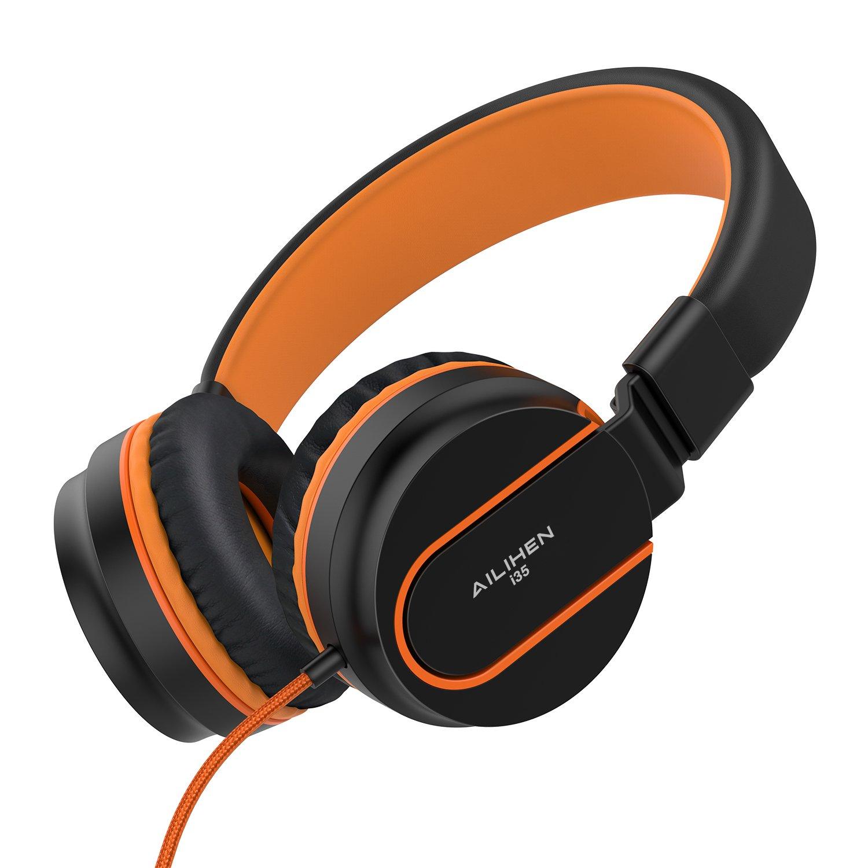 Ailihen I35 Stereo Lightweight Foldable Headphones Adjustable Headband Headsets with Microphone 3.5mm for Cellphones Smartphones Iphone Laptop Computer Mp3/4 Earphones (Black/Orange)
