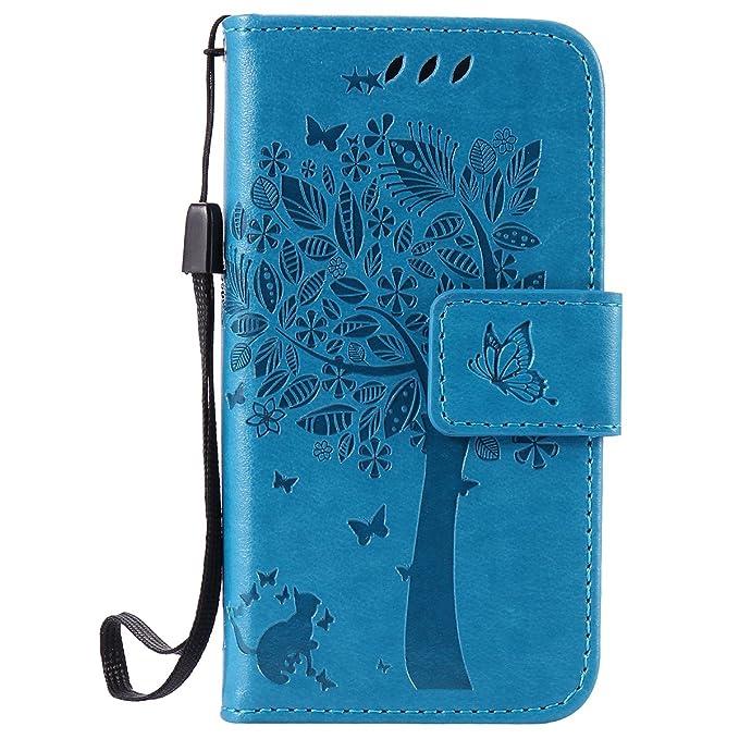 ISAKEN Kompatibel mit iPhone 4 4S Hülle, PU Leder Flip Cover Brieftasche Geldbörse Wallet Case Ledertasche Handyhülle Tasche