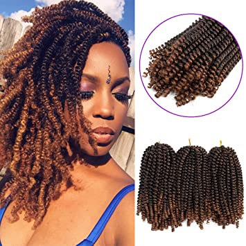 3 Pack Spring Twist Hair Braiding Xpression Bomb Ombre Colors Braiding  Crochet Synthetic Fluffy Hair Extensions 8inch 110g(T1B,30)