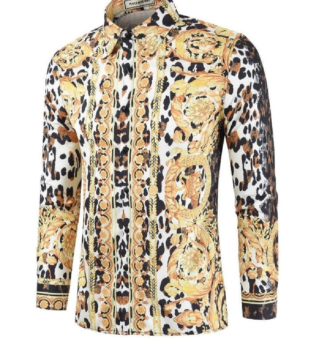 omniscient Mens Long Sleeve Luxury Design Print Fashion Loose Tops Dress Shirt